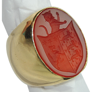 Exceptional! 18K Gold Hand Carved Carnelian Intaglio Ring, 70.5 grams! Mountain Lion Crest, Wax Seal, Coat of Arms