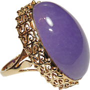 Huge 14K Lavender Jade Ring, 58ct Oval Cabochon, Yellow Gold, Size 7