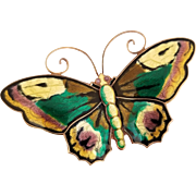 David Andersen Sterling Enamel Butterfly Brooch, Pin 2&3/8""
