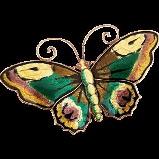 """David Andersen Sterling Enamel Butterfly Brooch, Pin 2&3/8"""""""