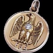 Antique Fraternal Order of Eagles 10k Gold Photo Locket w/ Diamond, F.0.E Pendant