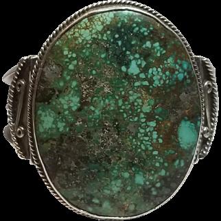 Huge Native American Spiderweb Turquoise Silver Cuff Bracelet, Navajo, Vintage