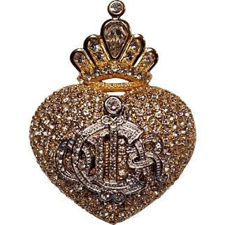 Christian Dior Boutique Crowned Heart Brooch, Pin, Mono, Logo