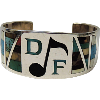 Native American Sterling Silver Stone Inlay Cuff Bracelet, Musical Note, DF Monogram