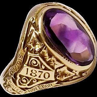 Tiffany & Co 14k Class Ring, Hunter Women's College NY, NY, c. 1925, Amethyst