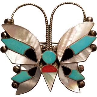 Rosita & Anselm Wallace Zuni Native American Butterfly Brooch, Pendant Sterling, Inlay
