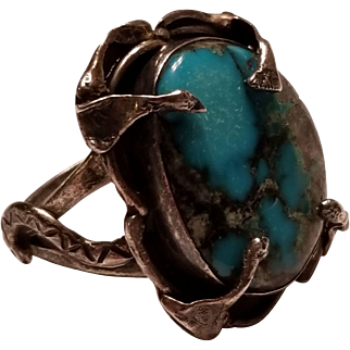 Vintage Native American Turquoise Sterling Ring w/ Snakes, sz 14