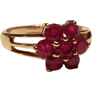14k Natural Ruby Cluster Ring, Yellow Gold, sz 7
