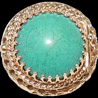 14K Turquoise Vinaigrette, Pill Box Pin / Brooch, Yellow Gold