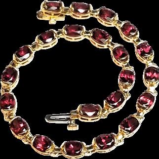 14K Rhodolite Garnet Tennis, Line Bracelet, Semi Bezel Set Oval Raspberry Red Garnets