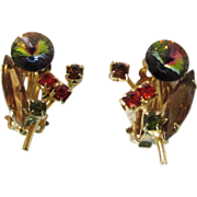 Vintage Rhinestone Watermelon Rivoli Earrings