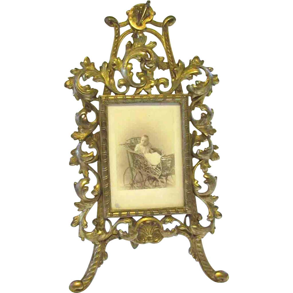 Art Nouveau Cast Iron Cabinet Card Standing Frame : Chelsea Antiques ...