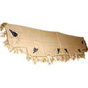 Victorian Society Silk Embroidered Grape Mantle Scarf