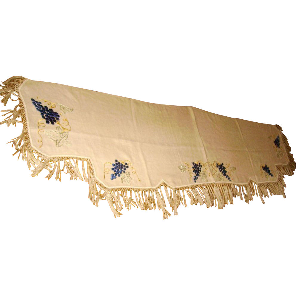 Victorian Society Silk Embroidered Grape Mantle Scarf From