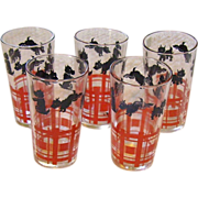 Set of 5 Scotty Dog Juice Glasses Hazel Atlas