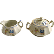 Early Bluebird China Sugar and Creamer Set