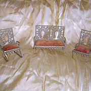 Set of Victorian Zinc Doll Furniture 3 Pieces