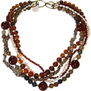 Nice 5-Strand Natural Stone, Amber, Pearl Necklace