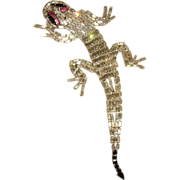 HUGE Weiss Articulated Rhinestone Lizard Brooch 7.5 inches!