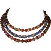Beautiful EARLY Hobe Crystal Bead Collar Necklace