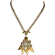 Early Unsigned Pennino Rhinestone Flower Necklace
