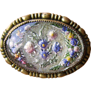 Early Goofus Glass Reverse Carved and Painted Flower Brooch
