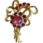 Coro Moonglow & Rhinestone Flower Brooch