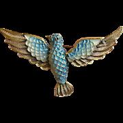 Sterling & Enamel Filigree Bird Pin