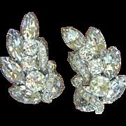 Vintage Eisenberg Clear Rhinestone Clip Earrings