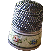 Sterling and Enamel Guilloche Thimble Size 8