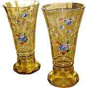 Beautiful Pair of Amber Bohemian Art Glass Vases