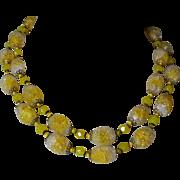 Miriam Haskell Lemon Drop Yellow Art Glass Necklace