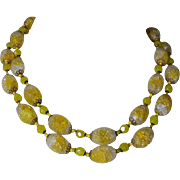 Miriam Haskell Lemon Drop Yellow Art Glass Necklace