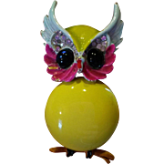 "Signed ""Art"" Enameled Owl Brooch"