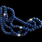 Vintage Lapis Lazuli & Pearl Beaded Necklace
