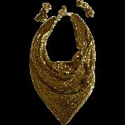 Whiting & Davis Drippy Mesh Bib Necklace & Earrings