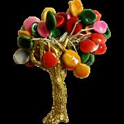 "Whimsical Vintage Tree Brooch Signed ""Joy"""