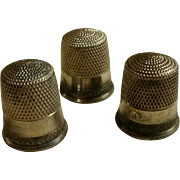 Three Matching Sterling Silver Thimbles Size 8