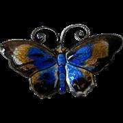 Large David Andersen Norway Sterling and Enamel Butterfly