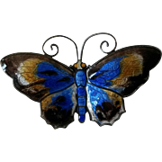 Large David Andersen Norway Sterling and Enamel Butterfly
