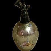 Bohemian Cut Mercury Glass and Enameled Perfume Atomizer