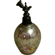 Bohemian Cut Mercury Glass and Enameled Perfume Atomizer