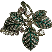 HUGE Eisenberg Original Rhinestone and Enamel Fur Clip