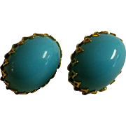 Vintage Schreiner Cabochon Faux Persian Turquoise Earrings