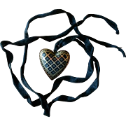 Victorian Gold & Silver Pique Heart Pendant