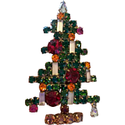 Weiss Six Candle Rhinestone Christmas Tree Pin as is