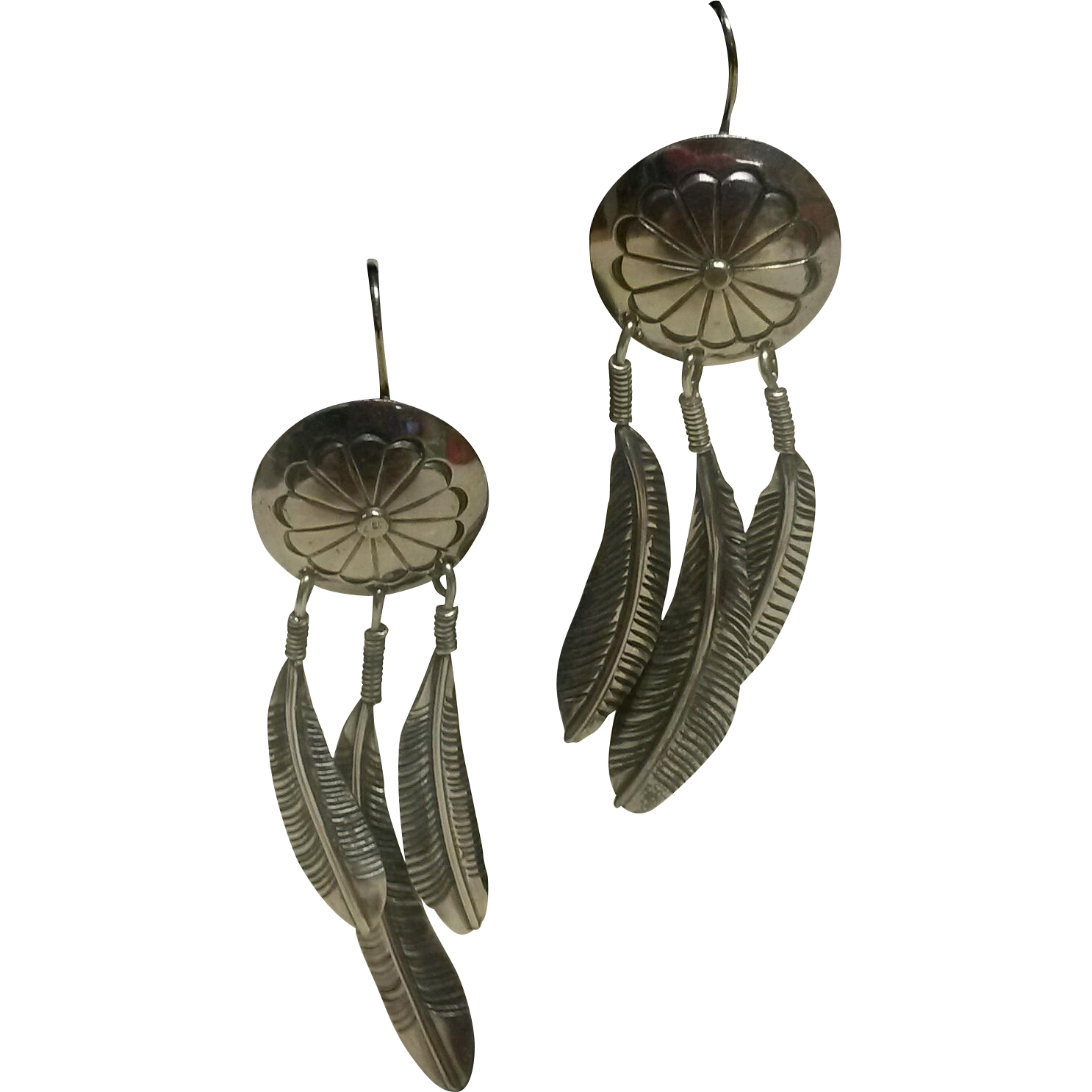 Vintage long sterling native american feather earrings for Native american feather jewelry