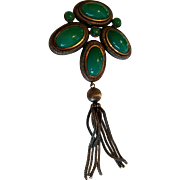 Signed Kramer Green Glass and Tassel Brooch