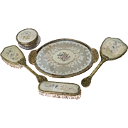 Beautiful English Vanity Set with Petite Point