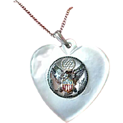 WWII Mother of Pearl & Essex Crystal Sweetheart Necklace